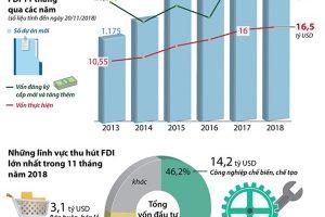 Tổng vốn FDI vào Việt Nam trong 11 tháng đạt 30,8 tỷ USD