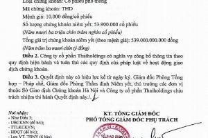 """""""Tân binh"""" THD của Thaiholdings được chấp thuận niêm yết trên HNX"""